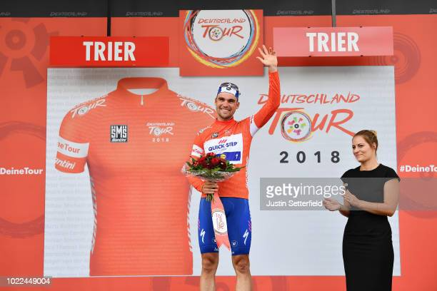 Podium / Maximilian Schachmann of Germany and Team Quick-Step Floors Red Leader Jersey / Celebration / during the 33rd Deutschland Tour 2018, Stage 2...