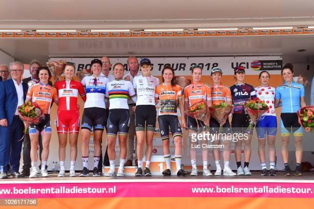 Podium / Megan Guarnier of United States and Team Boels Dolmans Cycling Team / Amalie Dideriksen of Denmark and Team Boels Dolmans Cycling Team /...
