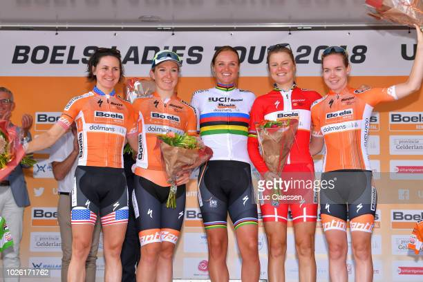 Podium / Megan Guarnier of United States Farewell of cycling / Amy Pieters of Netherlands and Team Boels Dolmans Cycling Team / Chantal Blaak of...