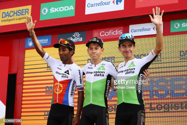 Podium / Merhawi Kudus of Eritrea and Team Dimension Data / Louis Meintjes of South Africa and Team Dimension Data / Igor Anton of Spain and Team...