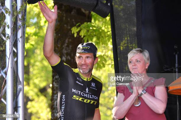 Podium / Michael Albasini of Switzerland and Team MitcheltonScott / Celebration / during the 11th Tour des Fjords 2018 Stage 3 a 183km stage from...