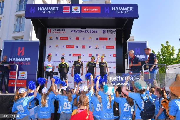 Podium / Michael Albasini of Switzerland / Damien Howson of Australia / Lucas Hamilton of Australia / Daryl Impey of South Africa / Cameron Meyer of...