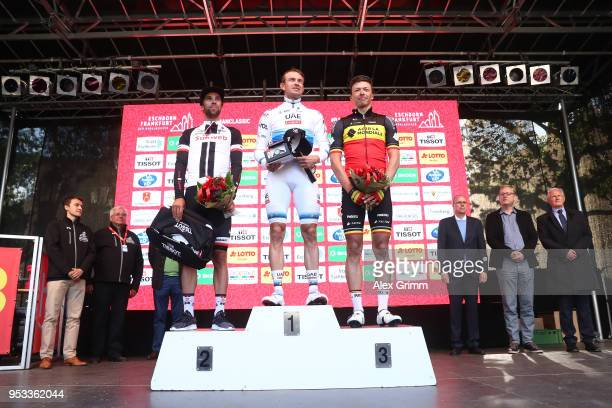 Podium / Michael Matthews of Australia and Team Sunweb / Alexander Kristoff of Norway and UAE Team Emirates / Celebration / Oliver Naesen of Belgium...