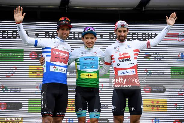 Podium / Michael Matthews of Australia and Team Sunweb Blue points Jersey / Miguel Angel Lopez of Colombia and Astana Pro Team Green Leader Jersey /...