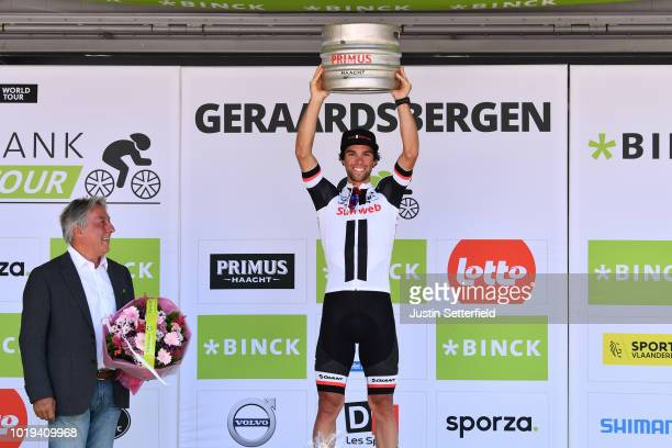 Podium / Michael Matthews of Australia and Team Sunweb / Celebration / Beer / during the 14th BinckBank Tour 2018 Stage 7 a 2156km stage from Lacs de...