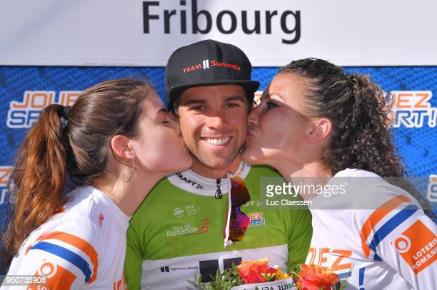Podium / Michael Matthews of Australia and Team Sunweb Green Sprint Jersey / Celebration / Trophy / Flowers / during the 72nd Tour de Romandie 2018...