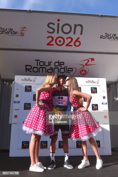 Podium / Michael Matthews of Australia and Team Sunweb / Mountain jersey Celebration / Miss Model / during the 72nd Tour de Romandie 2018 Prologue a...