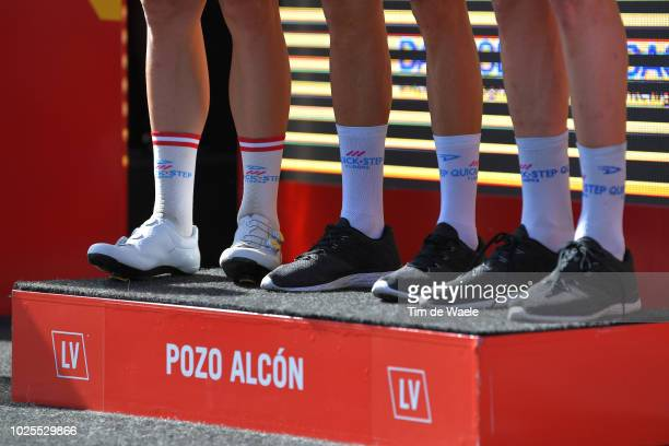 Podium / Michael Morkov of Denmark and Team QuickStep Floors / Enric Mas of Spain and Team QuickStep Floors / Laurens De Plus of Belgium and Team...