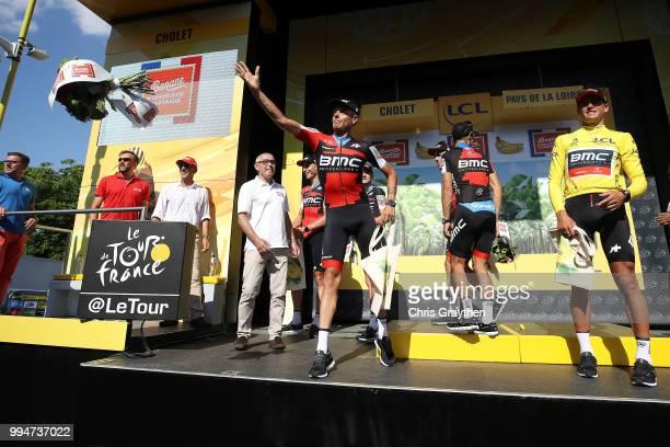 Podium / Michael Schar of Switzerland and BMC Racing Team / Greg Van Avermaet of Belgium and BMC Racing Team Yellow Leader Jersey / Celebration /...