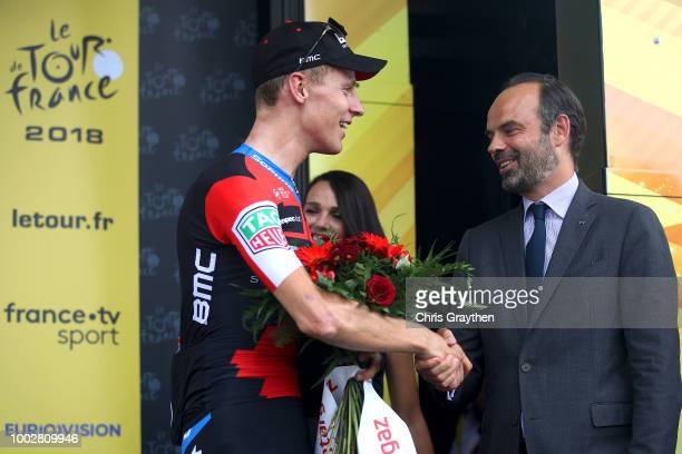Podium / Michael Schar of Switzerland and BMC Racing Team Most combative rider / Edouard Philippe of France, French Prime Minister / Celebration /...