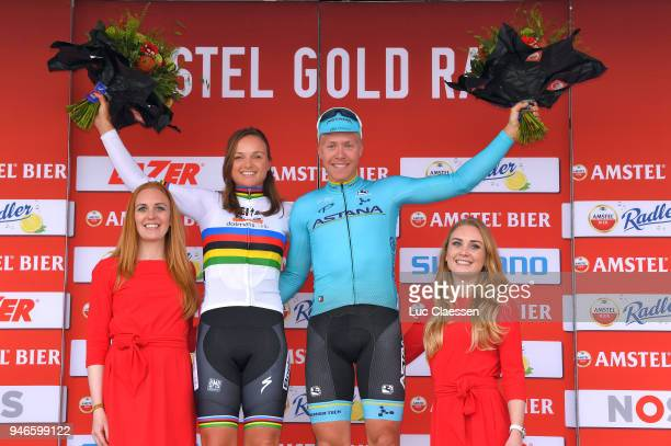 Podium / Michael Valgren Andersen of Denmark and Astana Pro Team / Chantal Blaak of Netherlands Celebration / during the 53rd Amstel Gold Race 2018 a...