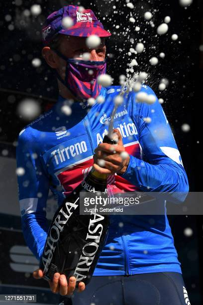 Podium / Michael Woods of Canada and Team EF Pro Cycling Blue Leader Jersey / Celebration / Mask / Covid safety measures / Champagne / during the...
