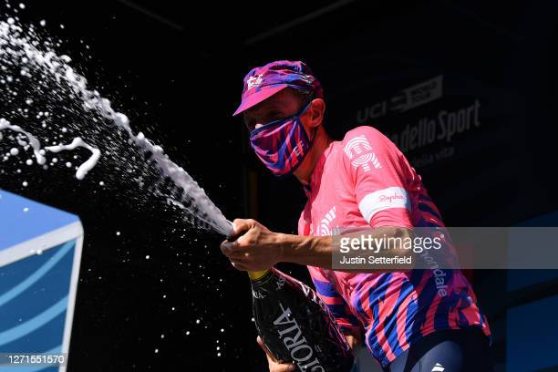 Podium / Michael Woods of Canada and Team EF Pro Cycling / Celebration / Mask / Covid safety measures / Champagne / during the 55th Tirreno-Adriatico...