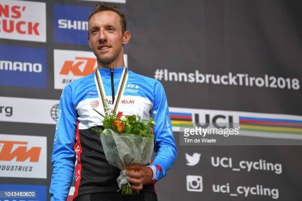 Podium / Michael Woods of Canada Bronze Medal / Celebration / during the Men Elite Road Race a 258,5km race from Kufstein to Innsbruck 582m at the...
