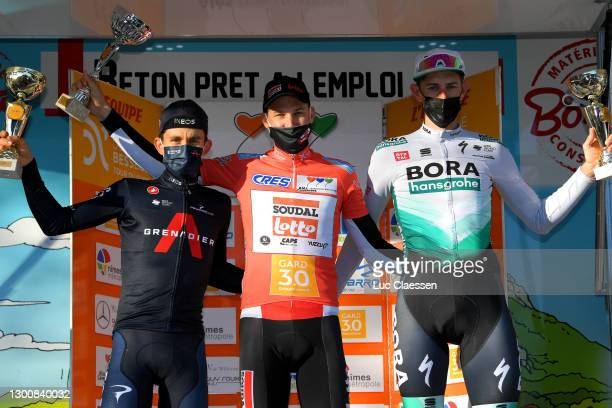 Podium / Michal Kwiatkowski of Poland and Team INEOS Grenadiers, Tim Wellens of Belgium and Team Lotto Soudal Orange Leader Jersey & Nils Politt of...