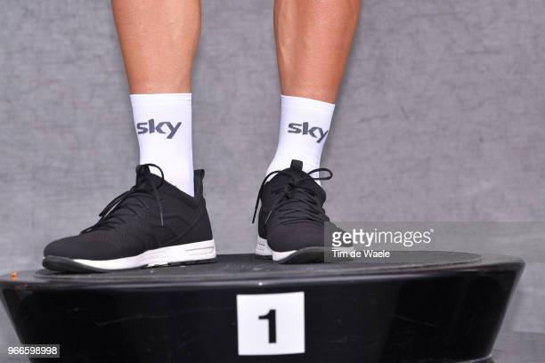Podium / Michal Kwiatkowski of Poland and Team Sky Celebration / Illustration / Legs / during the 70th Criterium du Dauphine 2018 Prologue a 66km...