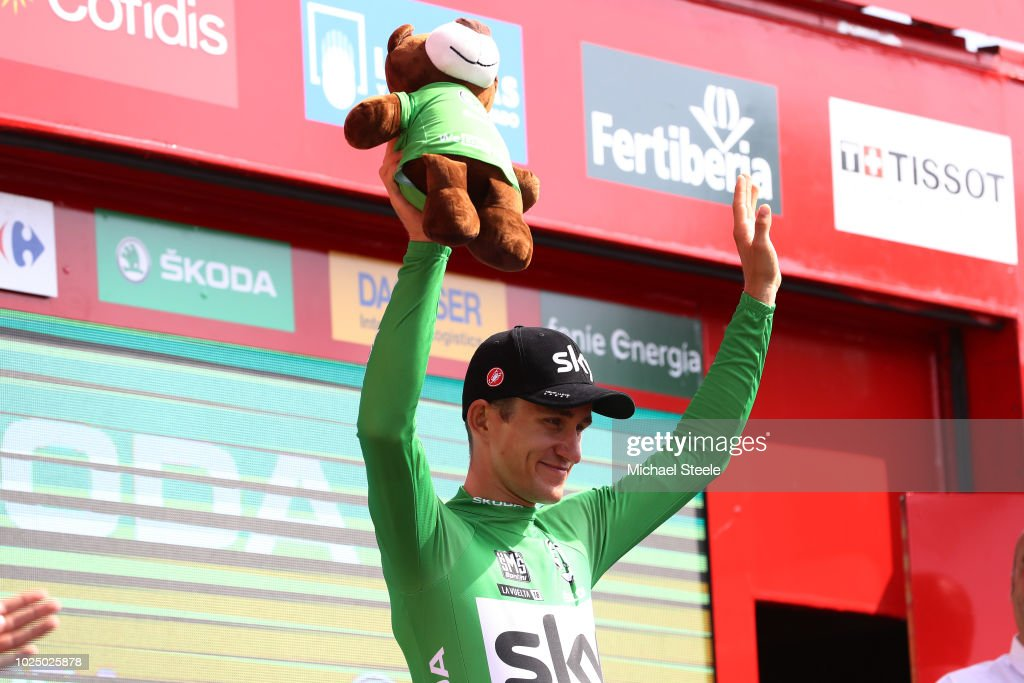 Podium / Michal Kwiatkowski of Poland and Team Sky Green Points Jersey / Celebration / during the 73rd Tour of Spain 2018, Stage 5 a 188,7km stage from Granada to Roquetas de Mar / La Vuelta / on August 29, 2018 in Roquetas de Mar, Spain.