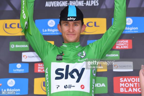 Podium / Michal Kwiatkowski of Poland and Team Sky Green Points Jersey / Celebration / Flowers / during the 70th Criterium du Dauphine 2018, Stage 1...