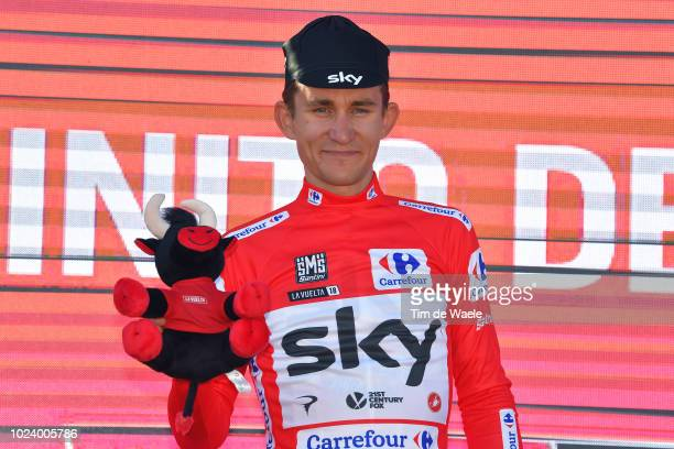 Podium / Michal Kwiatkowski of Poland and Team Sky Red Leader Jersey Celebration / Bull Mascot / during the 73rd Tour of Spain 2018, Stage 2 a...