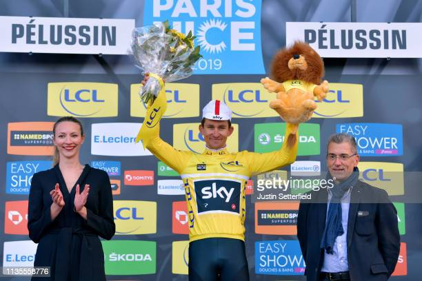 Podium / Michal Kwiatkowski of Poland and Team Sky Yellow Leader Jersey / Celebration / during the 77th Paris Nice 2019 Stage 4 a 212km race from...
