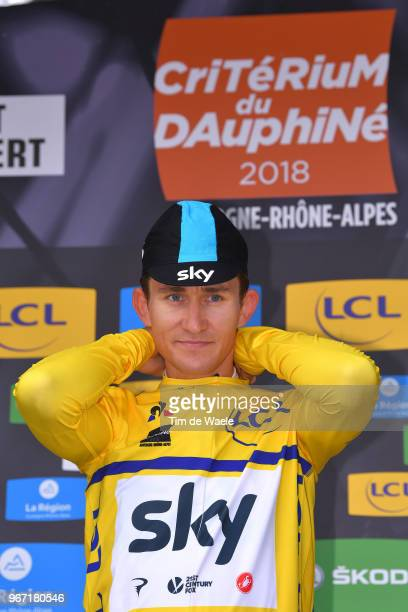 Podium / Michal Kwiatkowski of Poland and Team Sky Yellow Leader Jersey / Celebration / during the 70th Criterium du Dauphine 2018, Stage 1 a 179km...