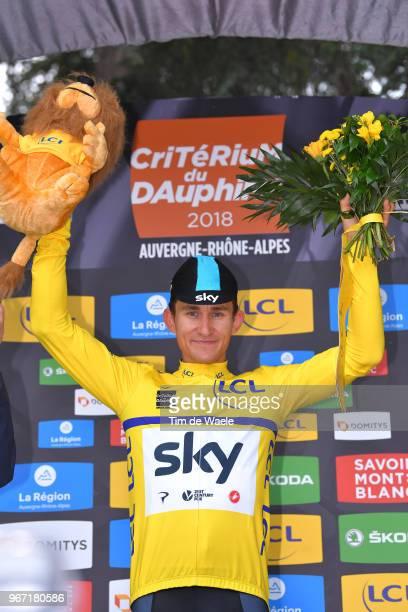 Podium / Michal Kwiatkowski of Poland and Team Sky Yellow Leader Jersey / Celebration / Flowers / during the 70th Criterium du Dauphine 2018, Stage 1...
