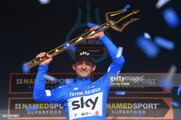 Podium / Michal Kwiatkowski of Poland Blue Leader Jersey Celebration / Trident / Trophy / during the 53rd TirrenoAdriatico 2018 Stage 7 a 105km...