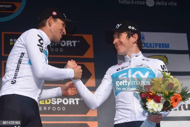 Podium / Michal Kwiatkowski of Poland Geraint Thomas of Great Britain Celebration / during the 53rd TirrenoAdriatico 2018 Stage 7 a 105km Individual...
