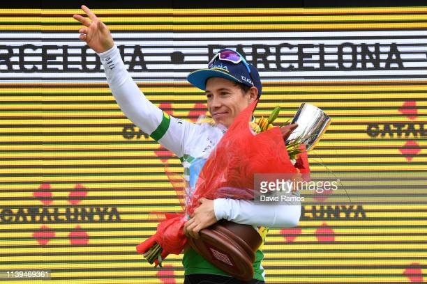 Podium / Miguel Angel Lopez of Colombia and Astana Pro Team Green Leader Jersey / Celebration / Trophy / during the 99th Volta Ciclista a Catalunya...