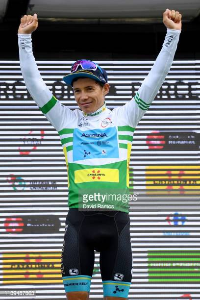Podium / Miguel Angel Lopez of Colombia and Astana Pro Team Green Leader Jersey / Celebration during the 99th Volta Ciclista a Catalunya 2019 Stage 7...