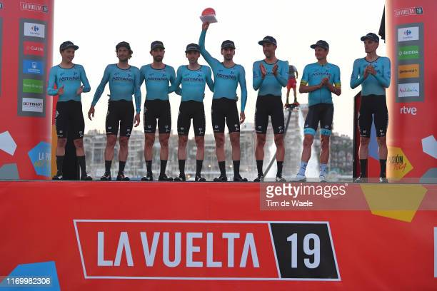 Podium / Miguel Angel Lopez of Colombia and Astana Pro Team / Manuele Boaro of Italy and Astana Pro Team / Dario Cataldo of Italy and Astana Pro Team...