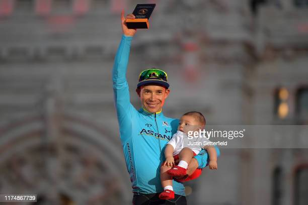 Podium / Miguel Angel Lopez of Colombia and Astana Pro Team Most Aggressive Rider / Miguel Jerónimo Lopez of Colombia Son / Celebration / during the...