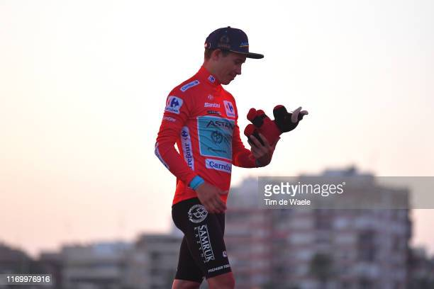 Podium / Miguel Angel Lopez of Colombia and Astana Pro Team Red Leader Jersey / Celebration / Bull Mascot / Trophy / during the 74th Tour of Spain...