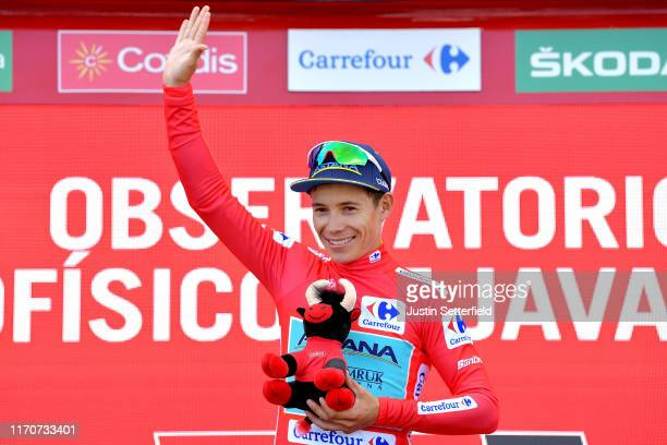 Podium / Miguel Angel Lopez of Colombia and Astana Pro Team Red Leader Jersey / Celebration / Bull Mascot / during the 74th Tour of Spain 2019 -...
