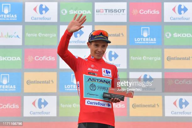 Podium / Miguel Angel Lopez of Colombia and Astana Pro Team Red Leader Jersey / Celebration / Trophy / during the 74th Tour of Spain 2019 Stage 7 a...