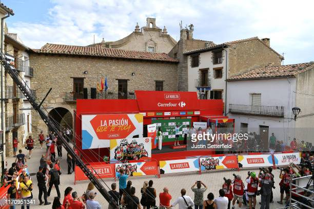 Podium / Miguel Angel Lopez of Colombia and Astana Pro Team White Best Young Rider Jersey / Óscar Pereiro of Spain Ex Pro-cyclist winner of the Tour...