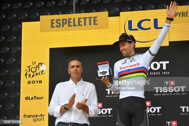 Podium / Miguel Indurain of Spain Ex Pro-cyclist / Tom Dumoulin of The Netherlands and Team Sunweb / Celebration / during the 105th Tour de France...