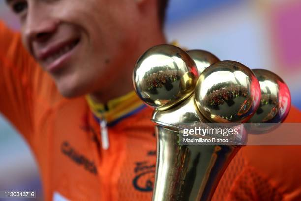 Podium / Miguel Ángel López of Colombia and Astana Pro Team Orange Leader Jersey / / Celebration / Trophy / during the 2nd Tour of Colombia 2019...