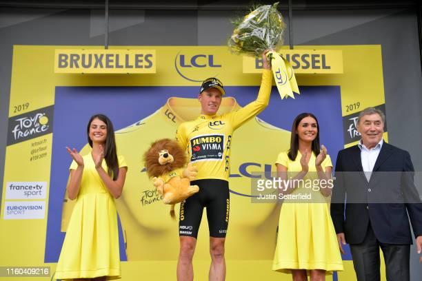 Podium / Mike Teunissen of The Netherlands and Team Jumbo-Visma Yellow Leader Jersey / Celebration / Eddy Merckx of Belgium Ex pro-cyclist / Miss /...