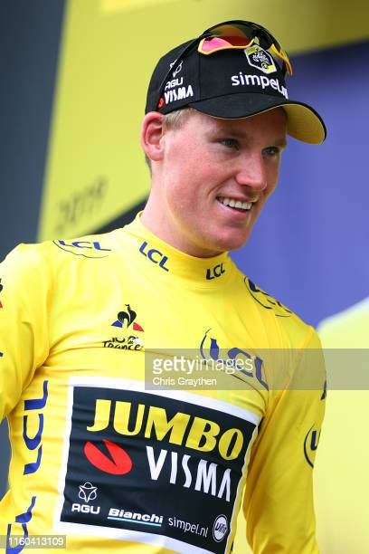 Podium / Mike Teunissen of The Netherlands and Team Jumbo-Visma Yellow Leader Jersey / Celebration / during the 106th Tour de France 2019, Stage 1 a...