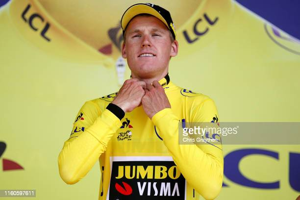 Podium / Mike Teunissen of The Netherlands and Team Jumbo-Visma Yellow Leader Jersey / Celebration / during the 106th Tour de France 2019, Stage 2 a...