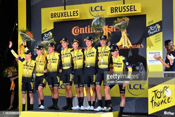 Podium / Mike Teunissen of The Netherlands and Team Jumbo-Visma Yellow Leader Jersey / Steven Kruijswijk of The Netherlands and Team Jumbo-Visma /...