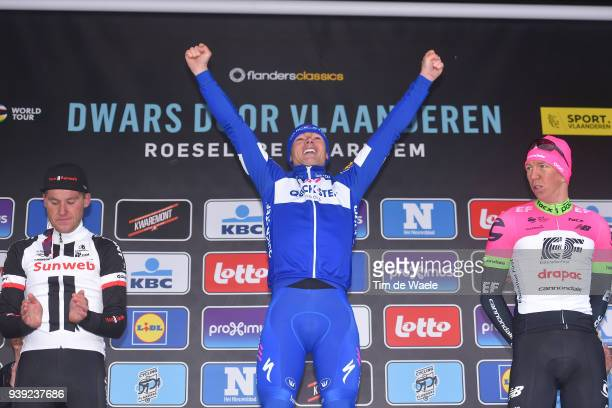 Podium / Mike Teunissen of The Netherlands and Team Sunweb / Yves Lampaert of Belgium and Team Quick-Step Floors / Sep Vanmarcke of Belgium and Team...