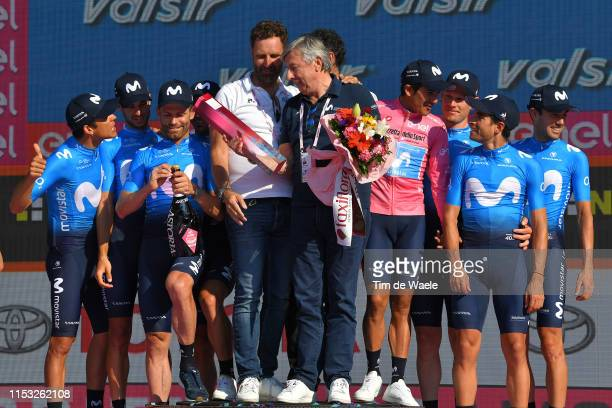 Podium / Mikel Landa Meana of Spain and Movistar Team / Andrey Amador Bikkazakova of Costa Rica and Movistar Team / Richard Carapaz of Ecuador and...