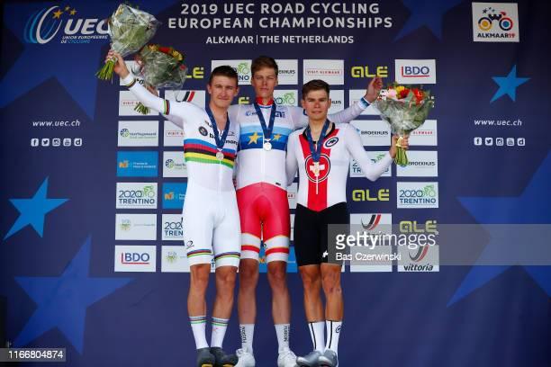 Podium / Mikkel Bjerg of Denmark Silver Medal / Johan Price-Pejtersen of Denmark Gold Medal / Stefan Bissegger of Switzerland Bronze Medal /...