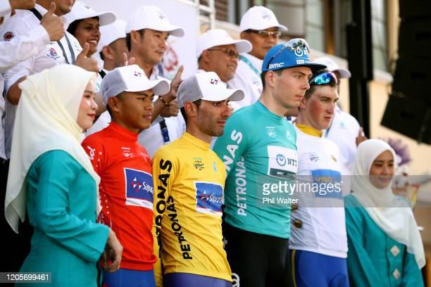 Podium / Muhammad Nur Aiman Mohd Zariff of Malaysia and Team Sapura Cycling Red Mountain Jersey / Danilo Celano of Italy and Team Sapura Cycling...