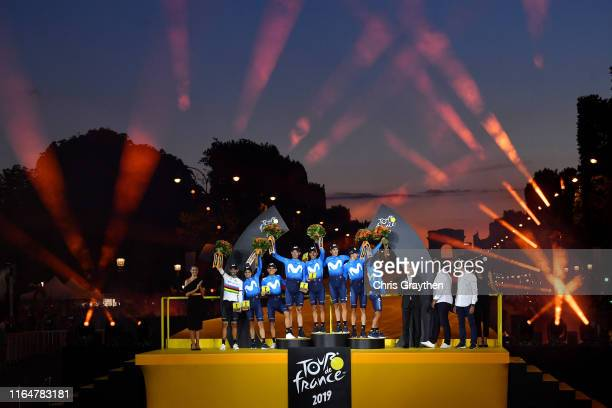 Podium / Nairo Quintana of Colombia and Movistar Team / Alejandro Valverde of Spain and Movistar Team World Champion Jersey / Andrey Amador of Costa...