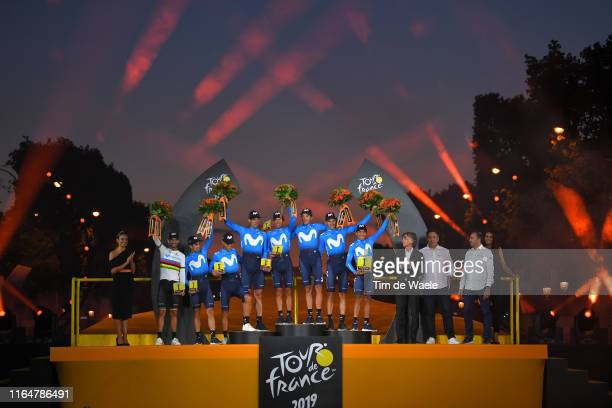Podium / Nairo Quintana of Colombia and Movistar Team / Alejandro Valverde of Spain and Movistar Team World Champion Jersey / Andrey Amador of Costa...