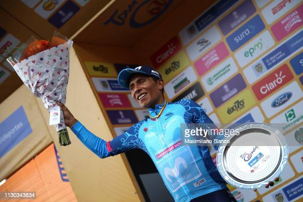 Podium / Nairo Quintana of Colombia and Movistar Team Blue Stage Winner Jersey / Celebration / Trophy / during the 2nd Tour of Colombia 2019 Stage 6...