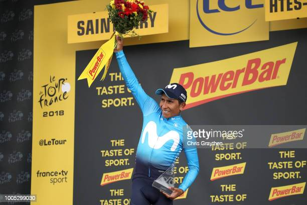 Podium / Nairo Quintana of Colombia and Movistar Team / Celebration / during the 105th Tour de France 2018 Stage 17 a 67km stage from...